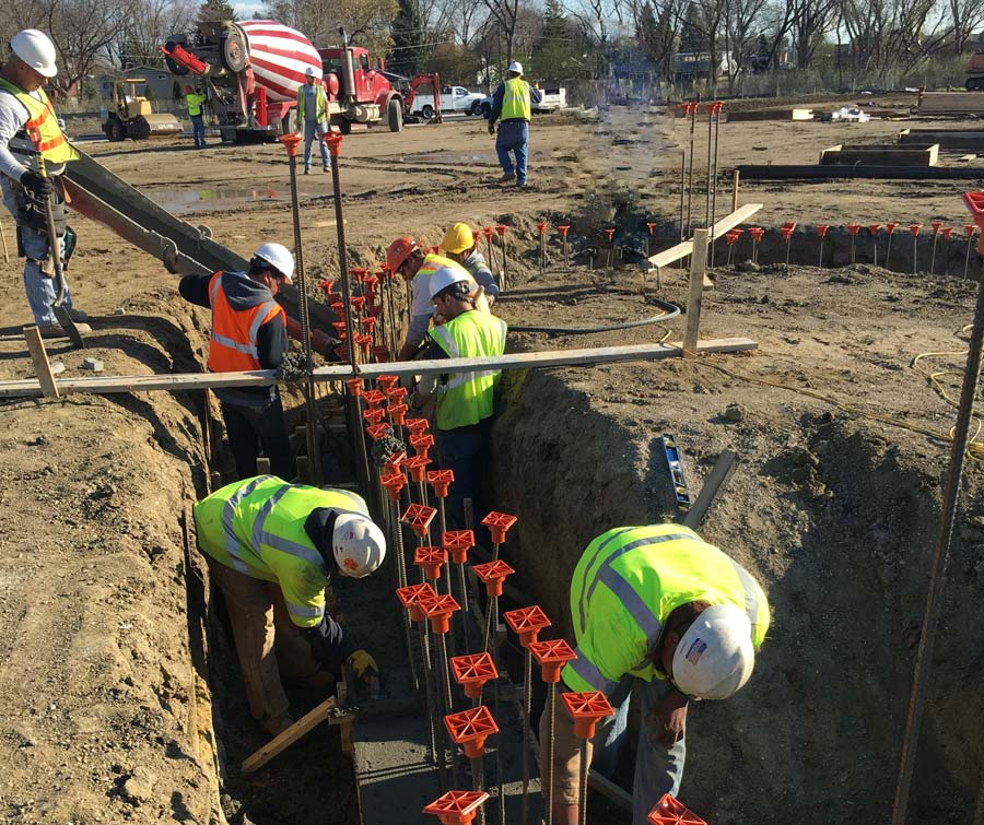 The-Whitley Senior center-footing being poured