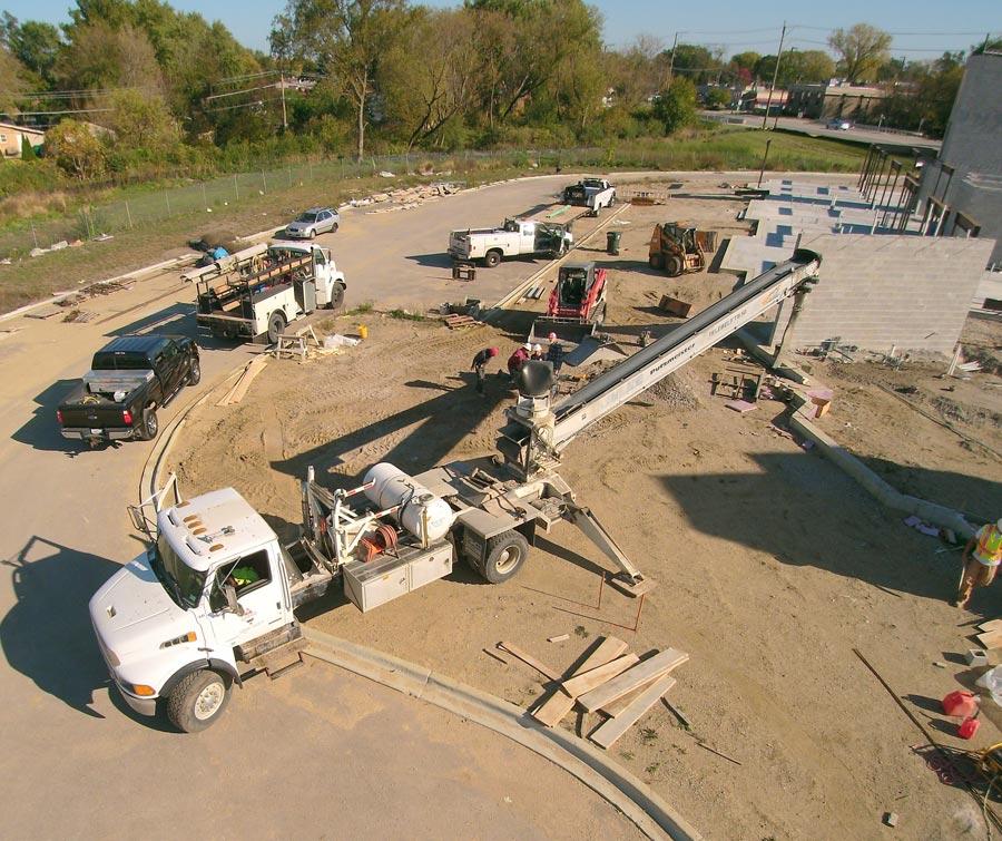 The-Whitley Senior center---placing-stone-conveyor